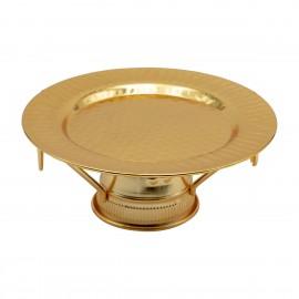 صحن تقديم استيل دائري بقاعده, لون ذهبي