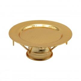 صحن تقديم استيل دائري بقاعده, لون ذهبي 17.5سم