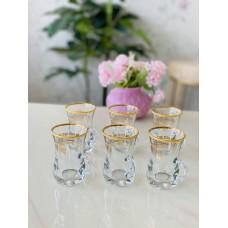 طقم بيالات شاي من الزجاج, 6 قطع, شفاف مذهب من دملاج-41806