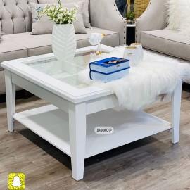 طاولة تقديم وخدمة خشبية  مربعة ابيض 90*90*50سم