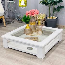 طاولة تقديم وخدمة خشبية  مربعة ابيض 90*90*25 سم