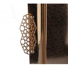 طوفرية تقديم استيل 3قطعة مستطيل ذهبي