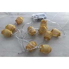 حبل اضاءة للزينة بطول 2 متر ومزود بـ 10 مصباح ال اي دي، ويعمل بالبطاريات