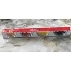 طقم زبديات زجاج شفاف 4 قطع