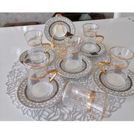 طقم بيالات شاي مع الصحون 12 قطعة
