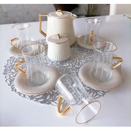 طقم بيالات شاي مع ابريق 14قطعة