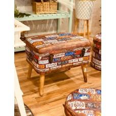 صندوق سجاد خشب بأرجل خشبية جلد