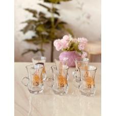 طقم بيالات شاي من الزجاج, 6 قطع, شفاف مذهب من دملاج-42621