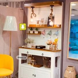 طاولة ركن كوفي خشب طبيعي  ريفي رف جدار بإضاءة  مقاس 200*40*109سم
