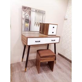 طاولة تسريحة خشب مع مرايا وادرج تخزين 3 قطع مقاس 90*40*138 سم