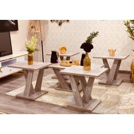 طقم طاولة تقديم وخدمة خشبي 4+1