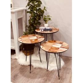 طقم طاولات خدمة خشبي 3حبة