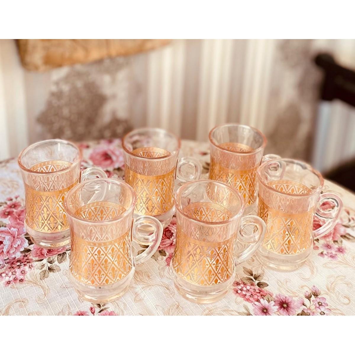 بيالات شاي زجاج ذهبي مكون من 6 قطع