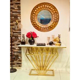 طاولة مدخل رخامي استيل  ذهبي 130*40*80 سم