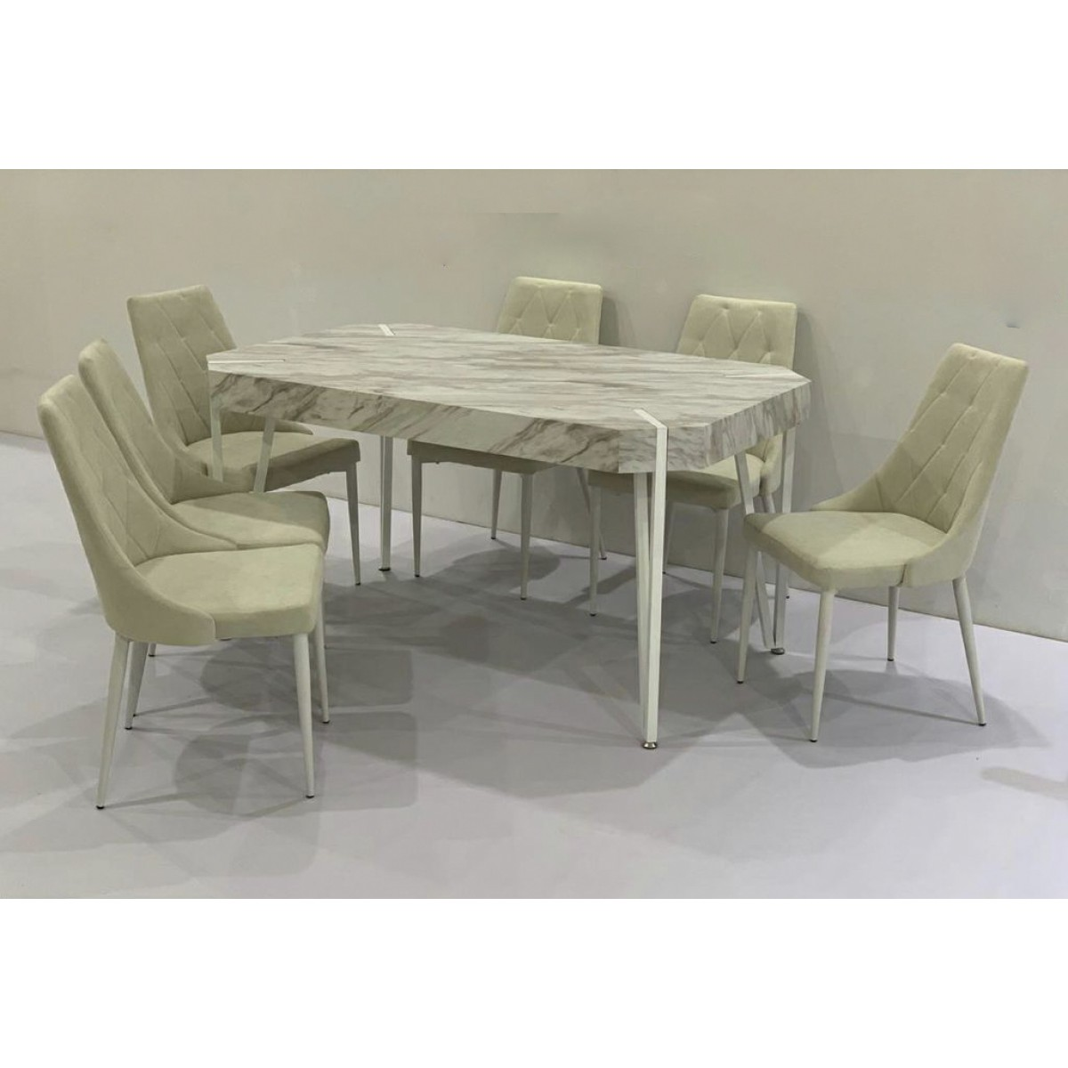 طاولة طعام خشب ابيض 6 كرسي مقاس 90*150*78سم
