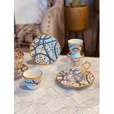 طقم  فناجين وبيالات  سيراميك وزجاج نقشة عصرية 18 قطعة (صناعة تركية)